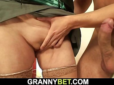 65 years old prostitute sucks and rides his big dick