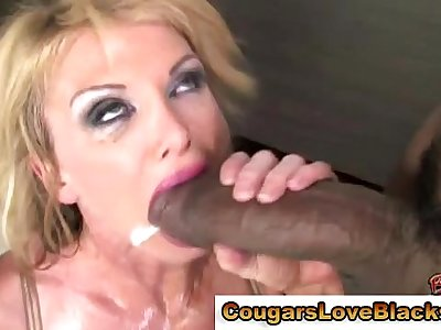 Blonde mature skank gets interracial cumshot