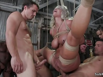 Busty Milf stripper tied and gangbanged
