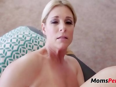 Son massages mom & she massages his balls